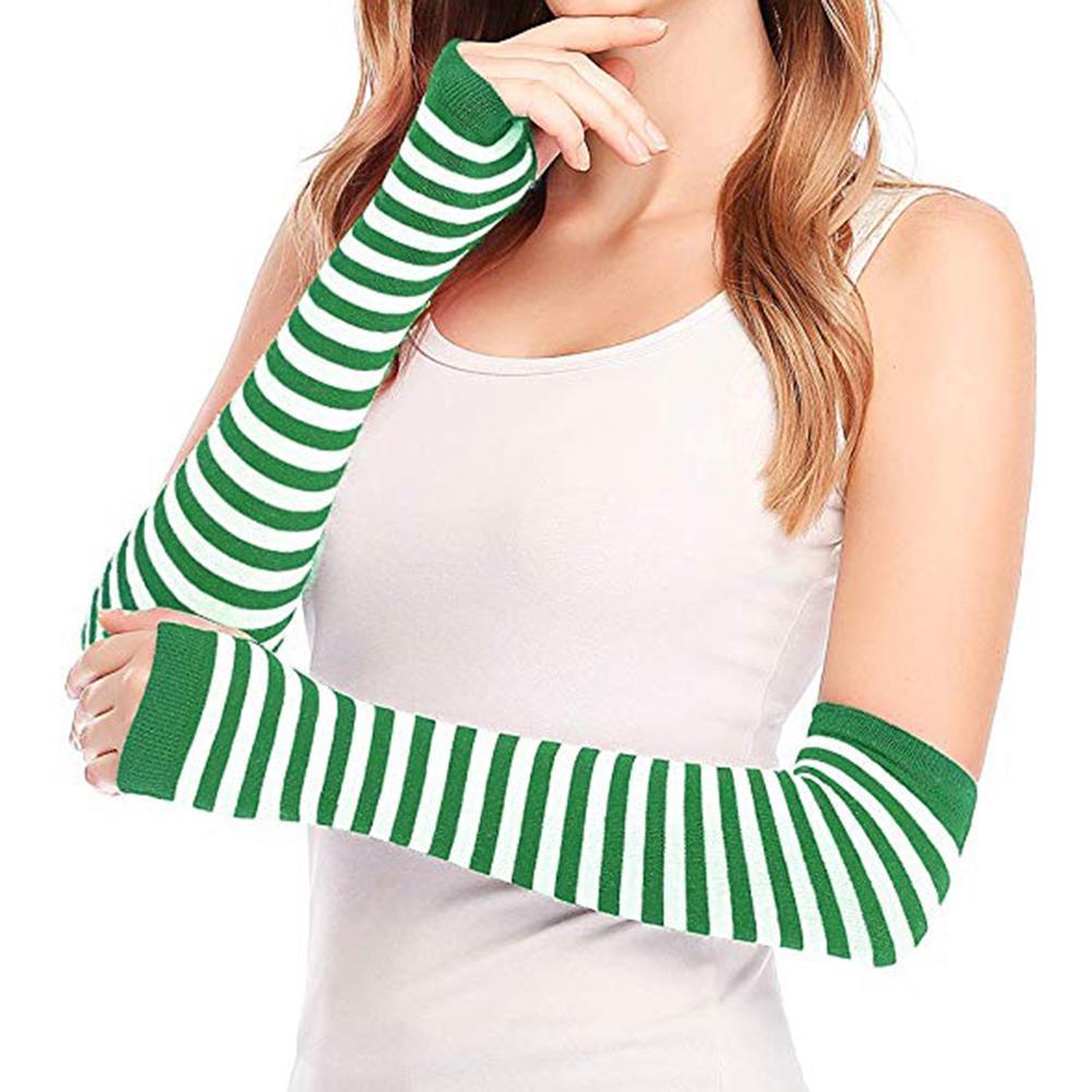 Winter Autumn Wrist Arm Hand Arm Warmers Women Men Knitted Long Fingerless Gloves Sleeve Soft Warm Mitten Elbow Mittens