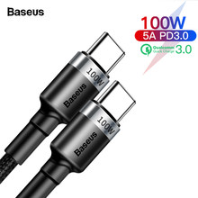 Baseus 100W USB C To USB Type C Cable For Huawei Mate 30 Pro QC 3.0 Quick Charge Data Cable For Xiaomi Macbook Pro USB C Cable(China)