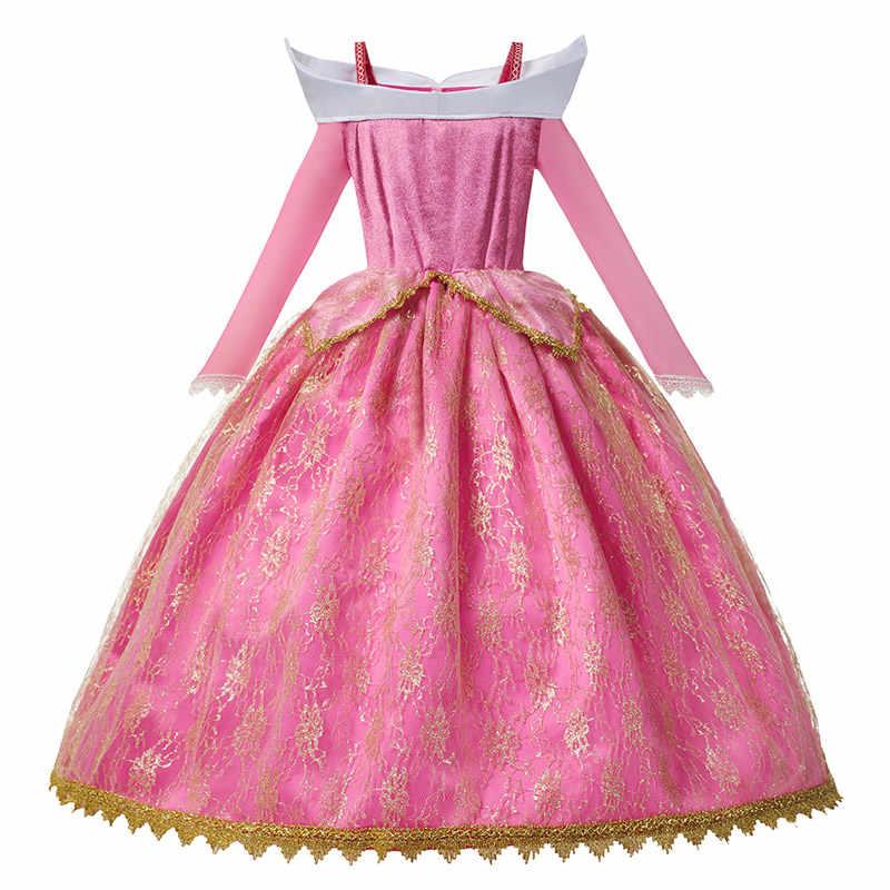 Kızlar için uyku güzellik Aurora elbise uzun kollu kapalı omuz dantel Robe çocuklar muhteşem noel hediyesi fantezi prenses parti kıyafetleri