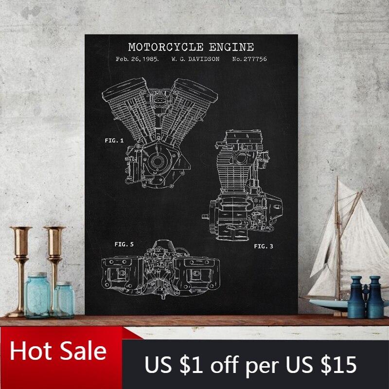 Motosiklet motoru Blueprint sanat tuval boyama Vintage Poster sanayi baskılar duvar dekor resimleri erkek odası dekorasyon hediye