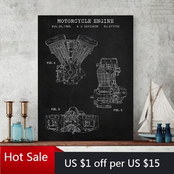 Motorcycle Engine Blueprint Art Canvas Painting Vintage Poster Industry Prints Wall Decor Pictures Boys Room Decoration Gift