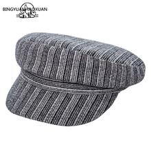 Newsboy Cap Autumn Hat Winter Men Women 2019 New Striped Flat Top Beret Painter Artist Vintage Sailor Captains