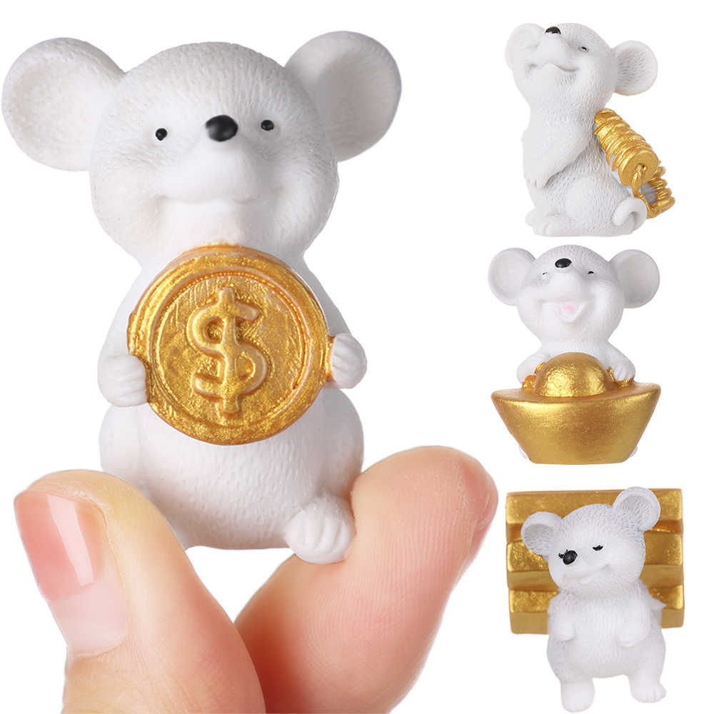 1 PCS Resin Gold Animal Model Money Mouse Figurine Miniature Mice Cartoon Bonsai Home Decor Micro Landscape Ornaments