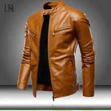 Jaqueta de couro pu masculina de piloto, para o outono, causal, para motocicleta, casaco de couro pu com zíper slim, sobretudo