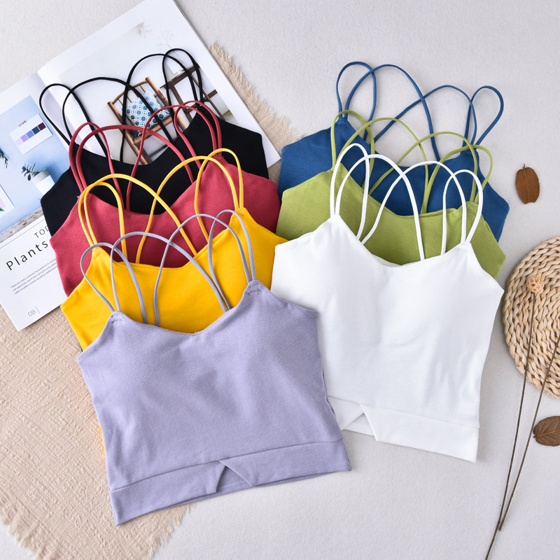 Women Sexy Tanks Top Wireless Crop Top Women Camis Fashion Vest Cross Beauty Back Underwear Summer Cropped Tee Camisole
