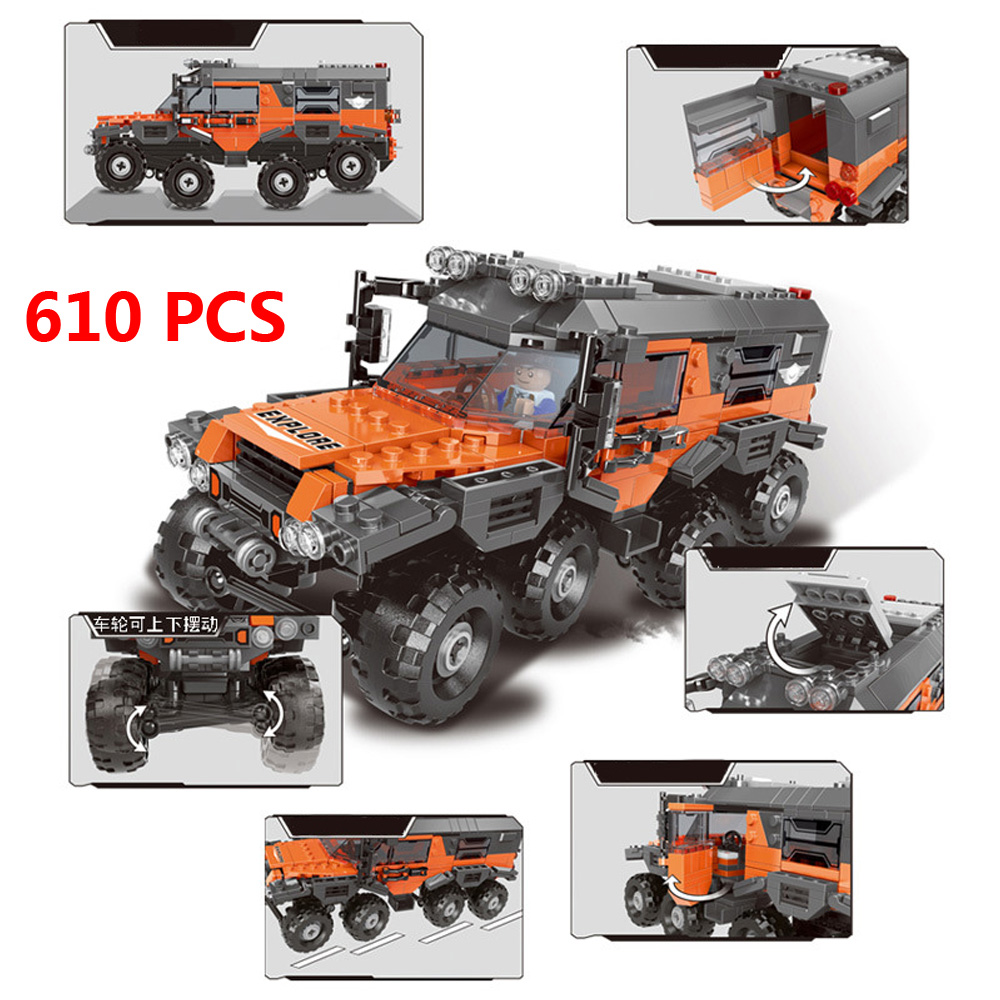 529pcs  City Simulation Super Blue Pickup Truck Building Block Off-road Vehicle Car Driver Figures Bricks Toys For Children Gift