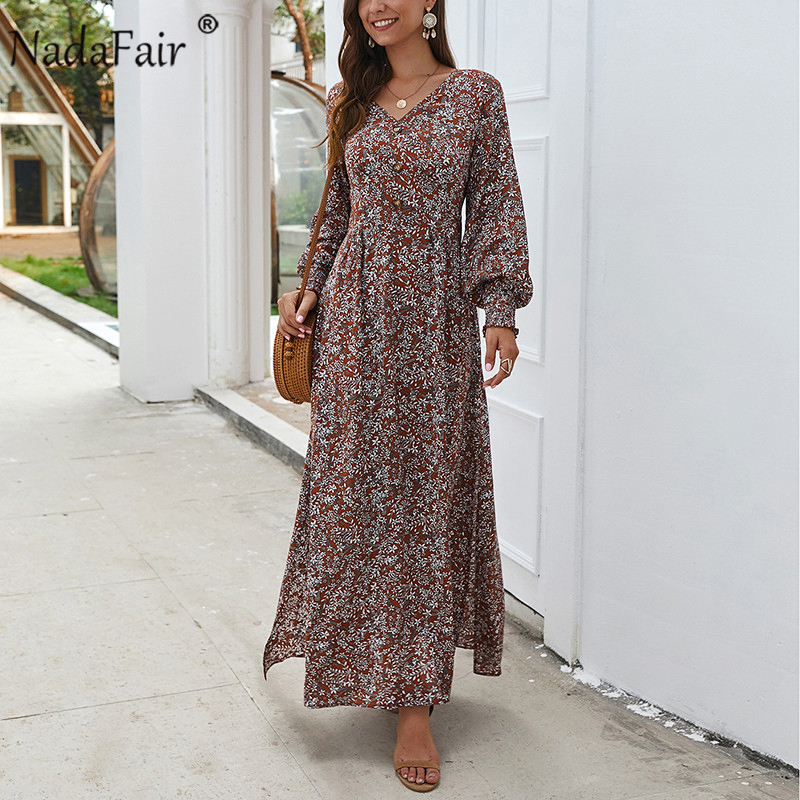 Nadafair Vintage Floral Long Dress Summer A-Line Split Lantern Long Sleeve Spring Elegant Retro Maxi Boho Dress Women Vestidos