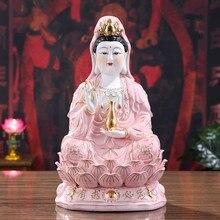 Estatua de buda, estatua de guanyin, artesanía de cerámica, adornos de pintura creativa, porcelana blanca alta, estatua de guany