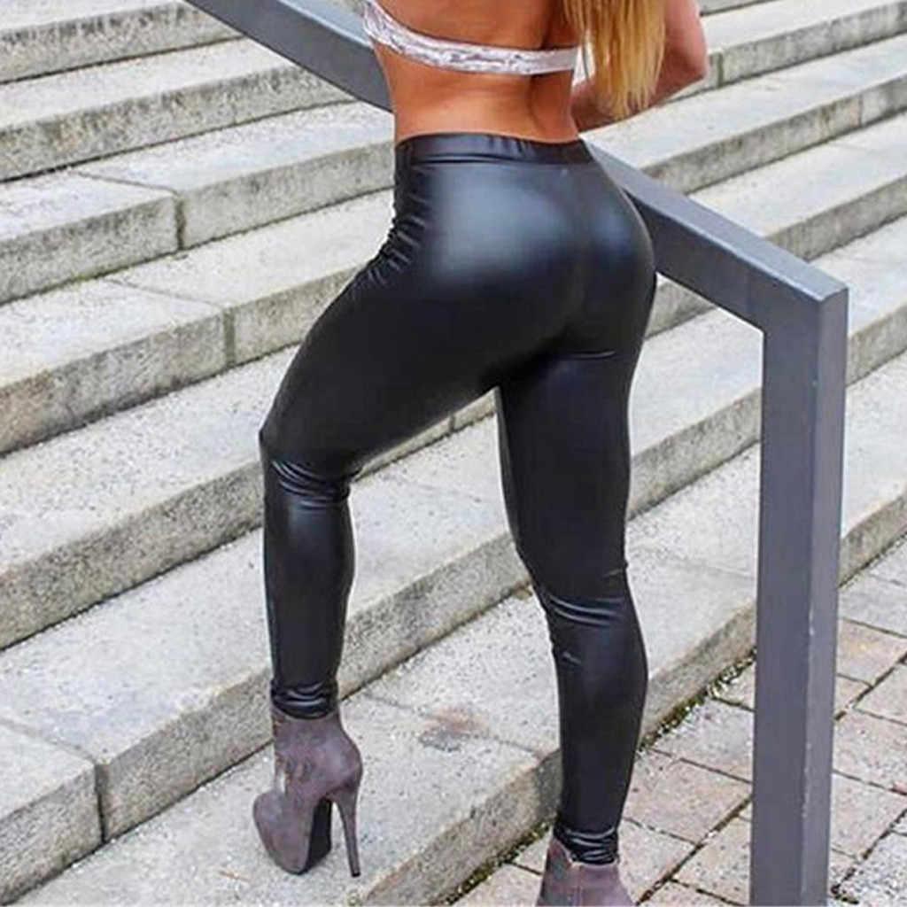 Vrouwen Lederen Broek Bottom Hip-Up Bom Slim Negen Minuten Broek Kunstleer Pu Panty Broek Zwart Bodycon pantalones Mujer 2019