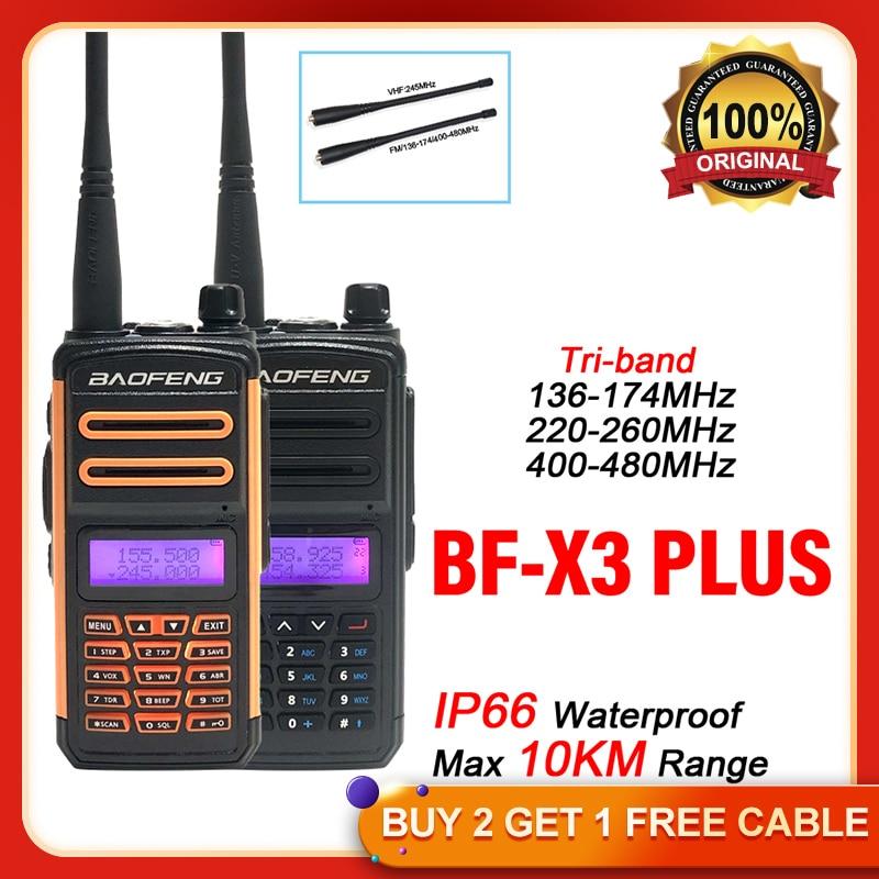 Baofeng BF-X3 PLUS  Long Range Tri-Band Portable Walkie Talkie VHF/UHF PTT Two Way Radio UV5R Update Version Amateur Ham Radio
