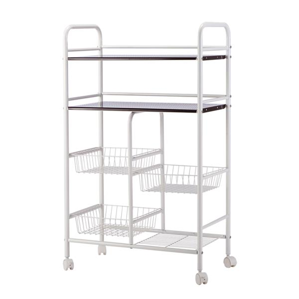 Double Row Mesh Storage Basket Multi-functional Kitchen Cabinet Storage Cart Shelves