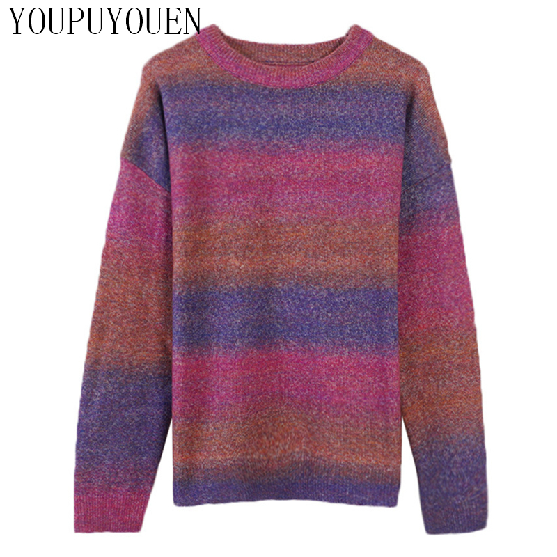 2019 Autumn Winter Pullover Women's Gradient Color Jumper Ladies Sweater Long Sleeve Loose Knit Top Fall Woman Vintage Knitwear thumbnail
