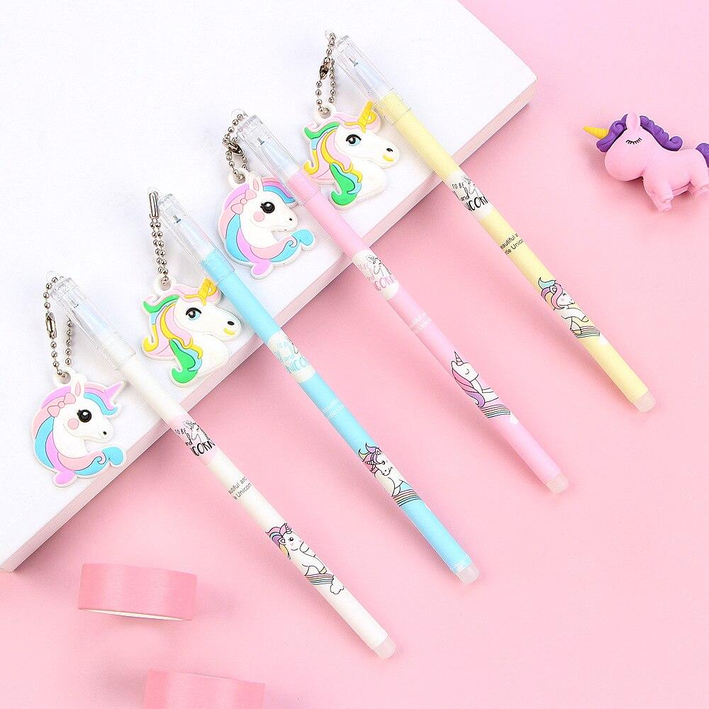4 Pcs/lot Creative Soft Cartoon Unicorn Pendant Erasable Gel  Pen Refill Set School Writing Stationery 0.5mm