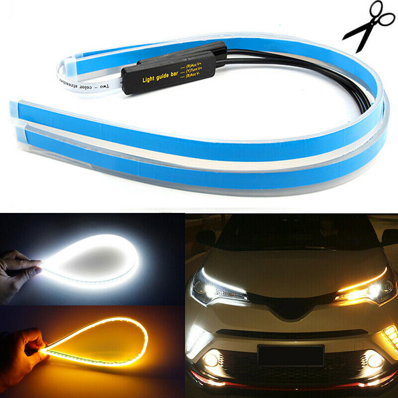 2 Pcs 60CM Flexible Amber Sequential LED Strip Tube DRL Turn Signal Light Lamp。