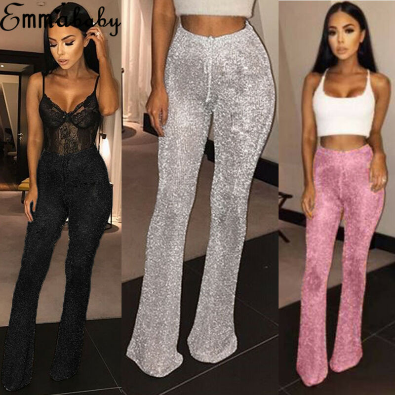 Goocheer New Women Bell Bottom Long Pants Solid Elastic Waist Sequin High Waisted Clubwear Party Knit Casual Trousers