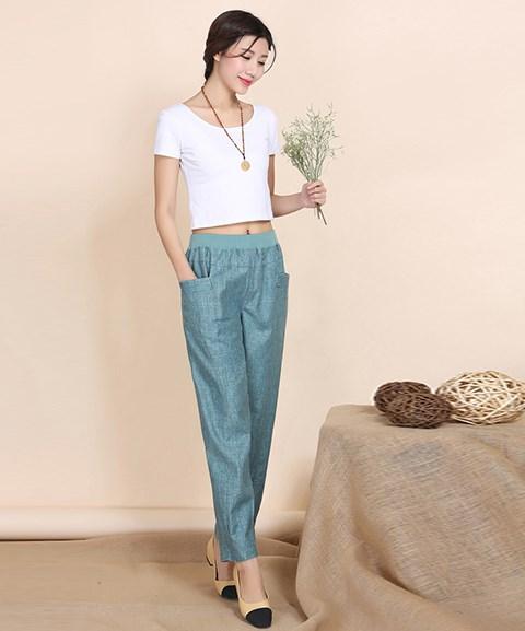 Women Pocket Casual Harem   Pants   Elastic Waist Linen   Pants   Plus Size Loose   Wide     Leg     Pants