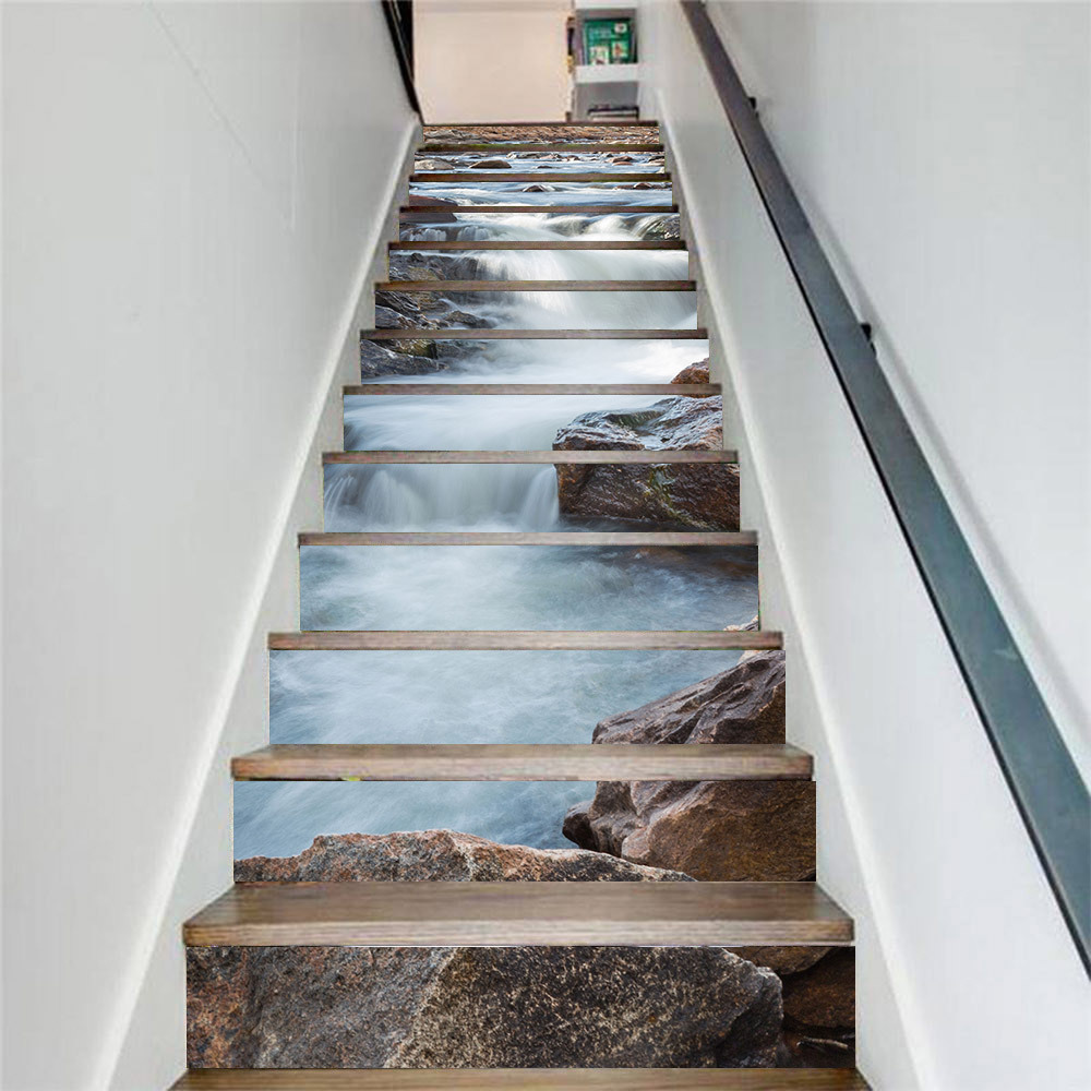 washable and scratch-resistant stairs Wall Stickers DS00036 Stairs Silves Adhesive PVC decoration for wear-resistant