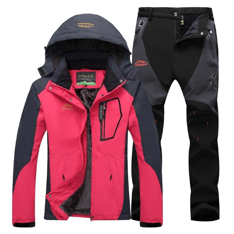 Women Ski Suit Ski Jacket Pants Snow Clothes Mountain Skiing Waterproof Winter Warmth Female Outdoor Snowboard