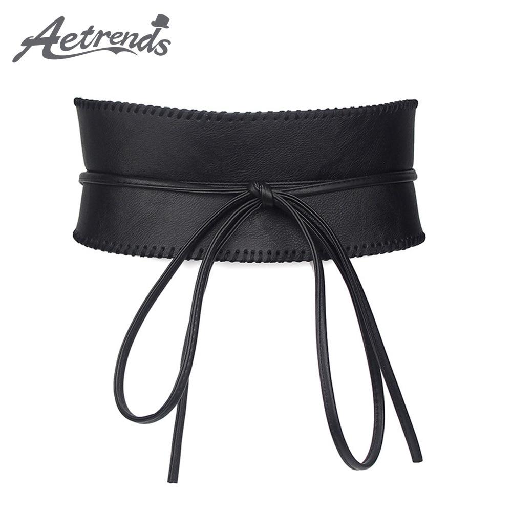 [AETRENDS] Women Soft Leather Self Tie Wrap Cinch Belt Obi Style Wide Waist Band Belt D-0112