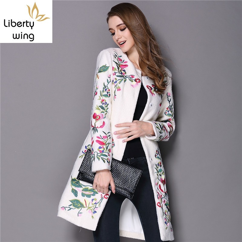 Winter Women Ethnic Flower Embroidery Wool Blends Long Trench Coat Ladies Slim Fit Woolen Outwear Jackets Abrigo Mujer Overcoat