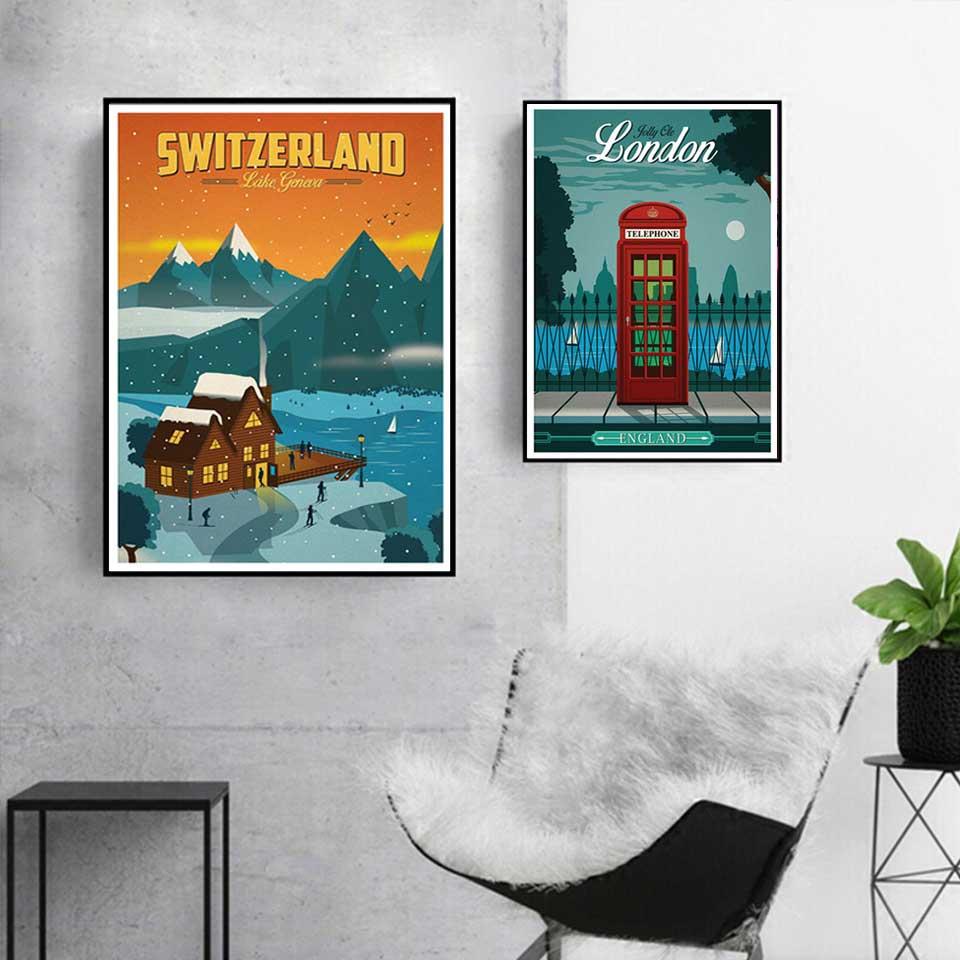 Painting New York Netherlands Amsterdam France Vintage Travel Landscape Poster