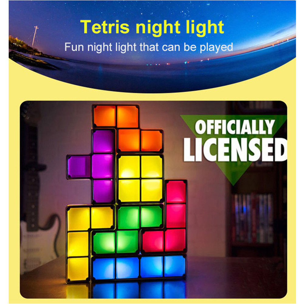 7 Pieces LED Induction Interlocking Lamp DIY Tetris Night Light Colorful Stackable Tangram Puzzles 3D Toys Ideal Gift|LED Night Lights|   - AliExpress