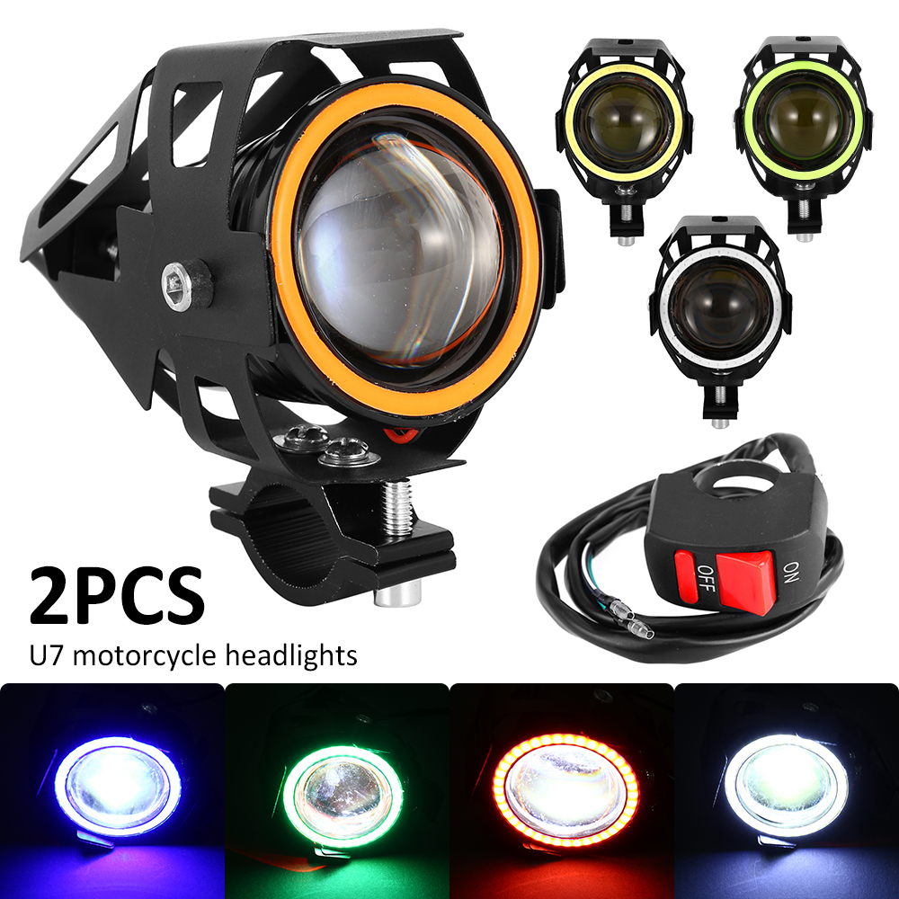 2PCS 30W U7 Motorcycle Headlight Angel Eye Headlights DRL Spotlights Auxiliary Highlights Car Work Fog Lights Car Accessories