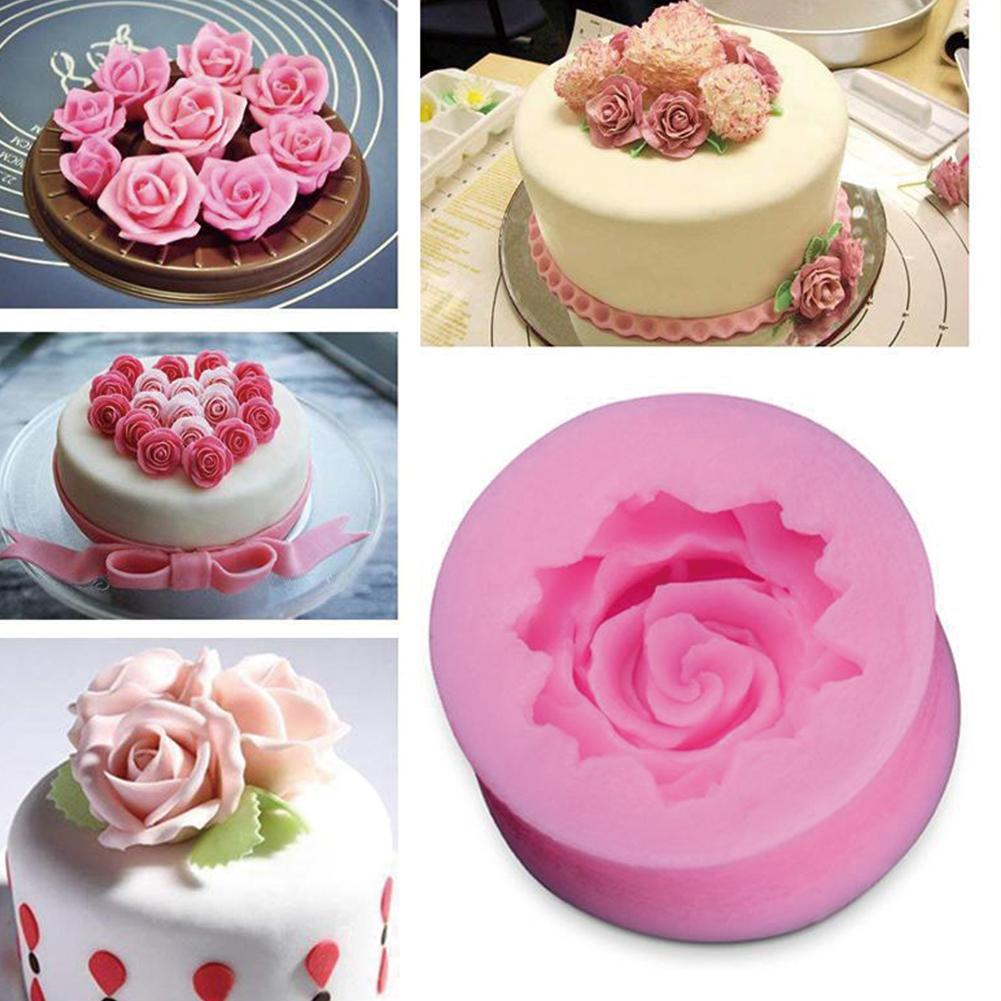 2PCS DIY Cake Fondant Decoration 3D Rose Flower Shape Form Cake Chocolate Soap Mold Handmade Making Mold Silicone Soap A6K3