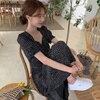 Woherb Women Dress Korean Fashion New Clothes Vintage Square Collar Lace Up Vestidos Slim Fit Print Lantern Sleeve Dresses 92609 1