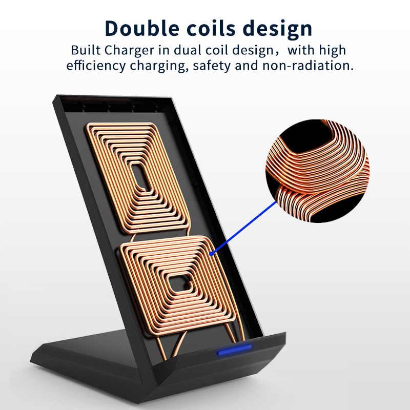 Coolreall Qi Wireless Charger Stand for iPhone X XS 8 XR Samsung S9 S10 S8 S10E 15W Fast Wireless Charging Station Phone Charger 2