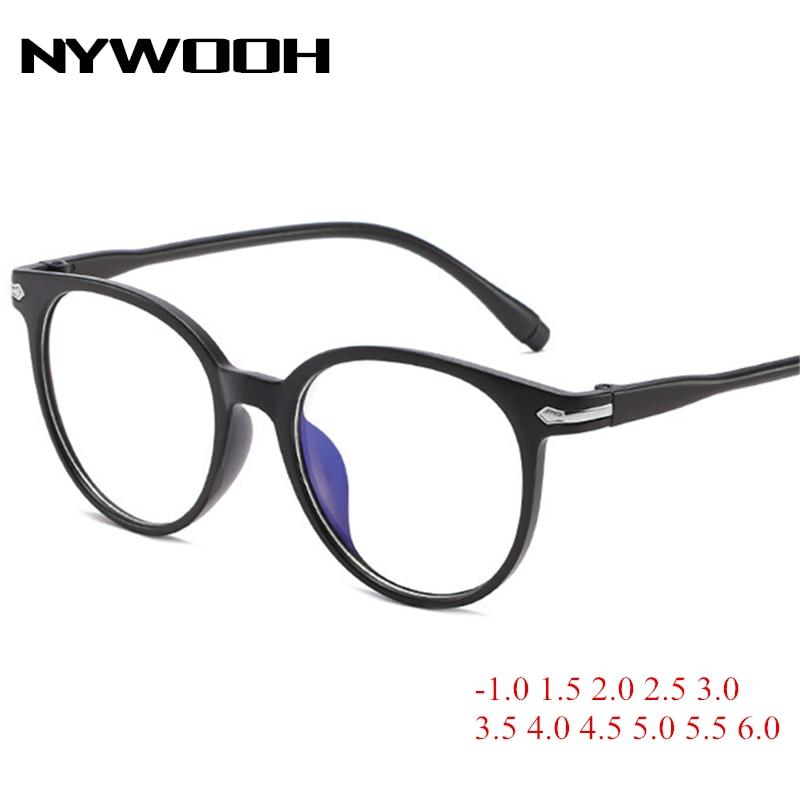 NYWOOH Finished Myopia Glasses Women Men Transparent Spectacles Students Vintage Round Short-sight Eyewear -1.0 To 6.0