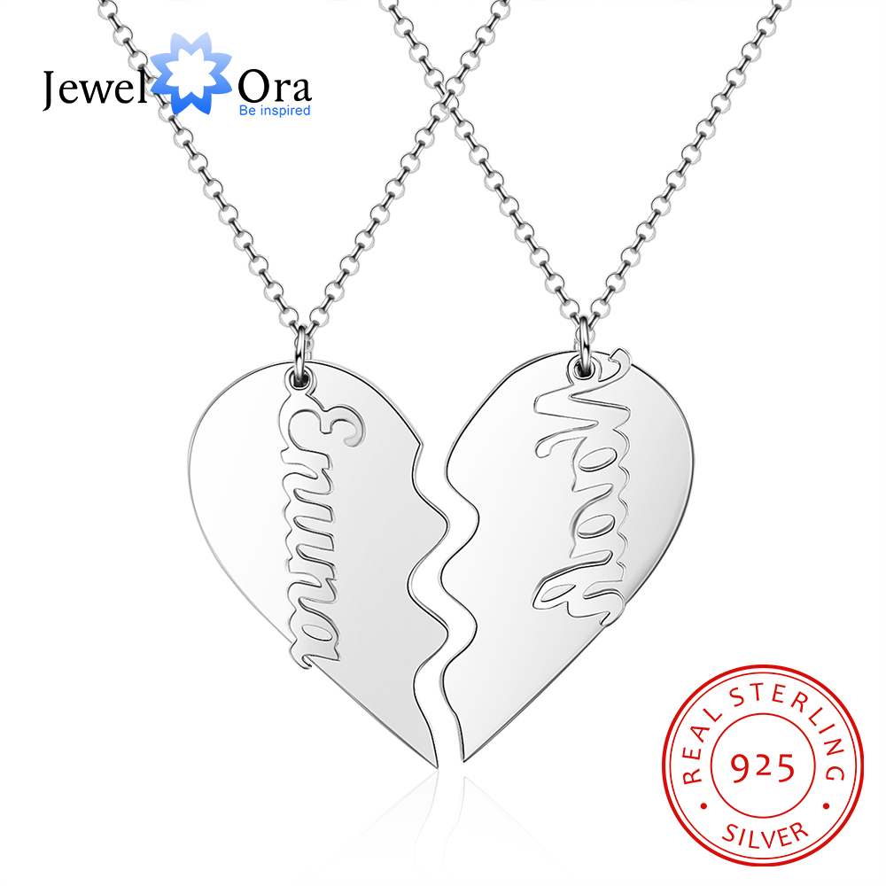 JewelOra 925 Sterling Silver Personalized BFF Heart Necklace Custom 2 Names Letter Necklace Best Friend Gift Fine Jewelry image