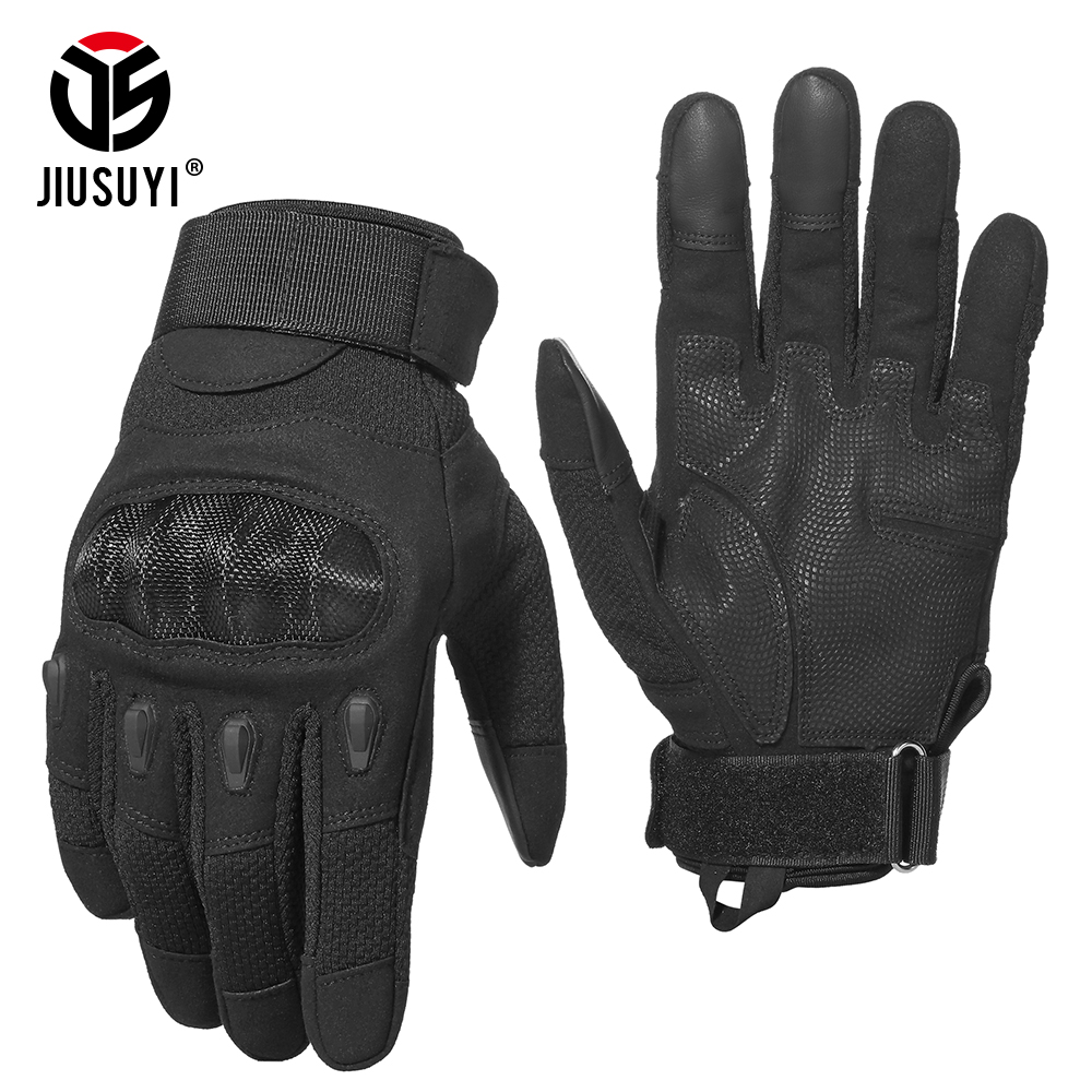 Black Touch Screen Tactical Military Full Finger Gloves Combat Army Fight Paintball Hard Knuckle Driving Glove For Men Women