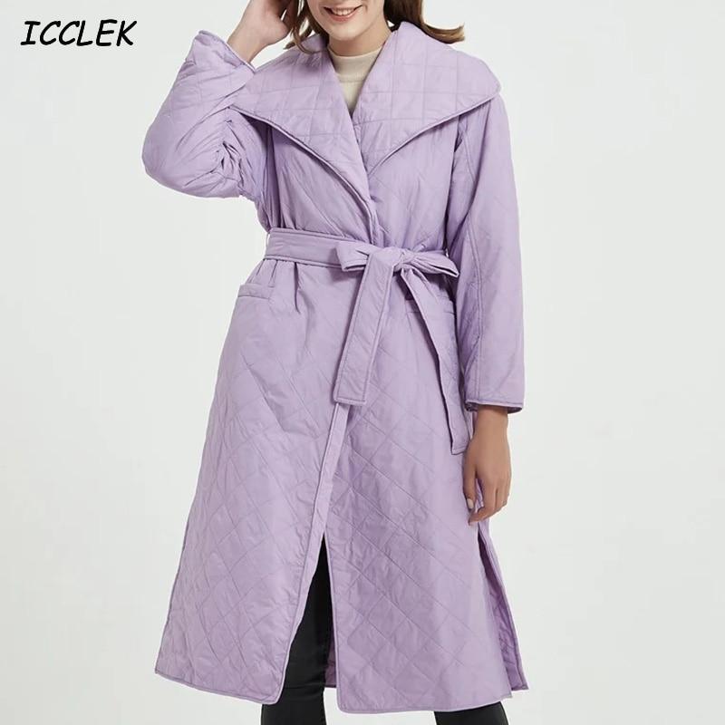 2020 Za Women's Purple Coats with Belt Long Coats Solid Loose Long Jackets Female Winter Vintage Plaid Overcoats Warm Outerwears