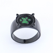 Fashion Lady Bug Kids Ring Black Cat Adrien Green Paw Print Jewelry Gift For Men And Women Anime Cosplay Accessories Anillo