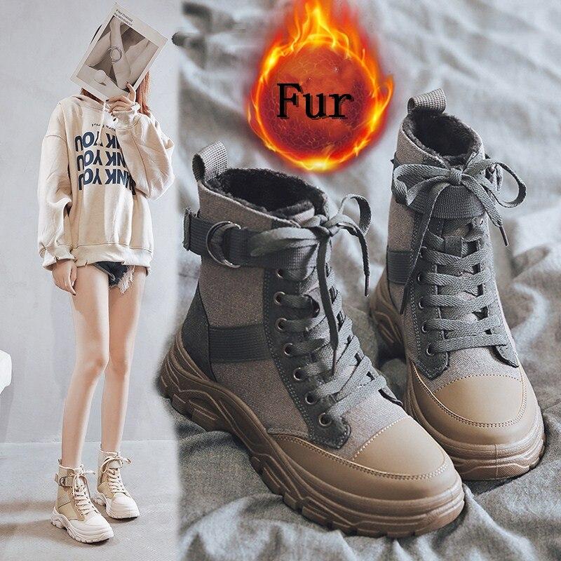 YRRFUOT Women Fashion Shoes Trend Brand Plus Velvet Casual Sneaker Winter New 2020 Zapatillas Mujer Women Casual Short Boots