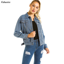 Women Basic Denim Jeans Jacket Autumn 2019 Loose Vintage Button Up Long Sleeve Streetwear Winter Coats Jackets
