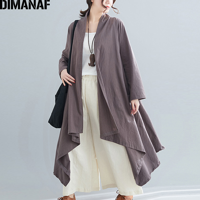 DIMANAF Women Outerwear Plus Size Autumn Jackets Coats Casual Lady Long Sleeve 2019 Female Loose Cotton Thin Open Stitch Clothes