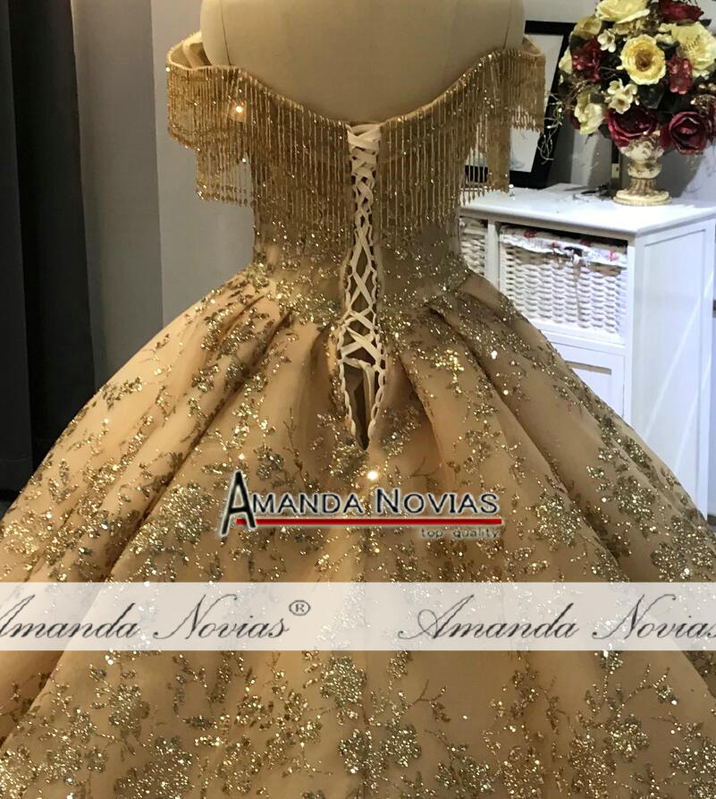 Image 2 - Off the shoulder golden ball gown wedding dressWedding Dresses   -