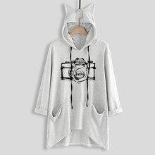 Womens female sweatshirts  Fashion Long Sleeve Print Cat Ear Hoodie Sweatshirt Pullover Blouse 8.24 цена 2017