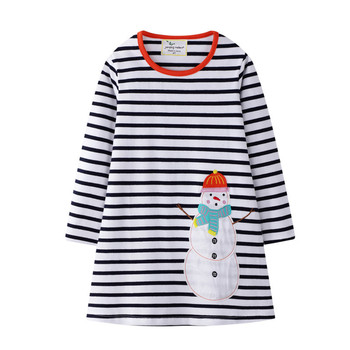 Jumping Meters Christmas Princess Dresses for Baby Girls Clothes Applique Snowman Cotton Party Children  Long Sleeve Kids  Dress new christmas fall winter baby girls cotton outfits red grey snowman ruffle dress children clothes boutique match accessory bow