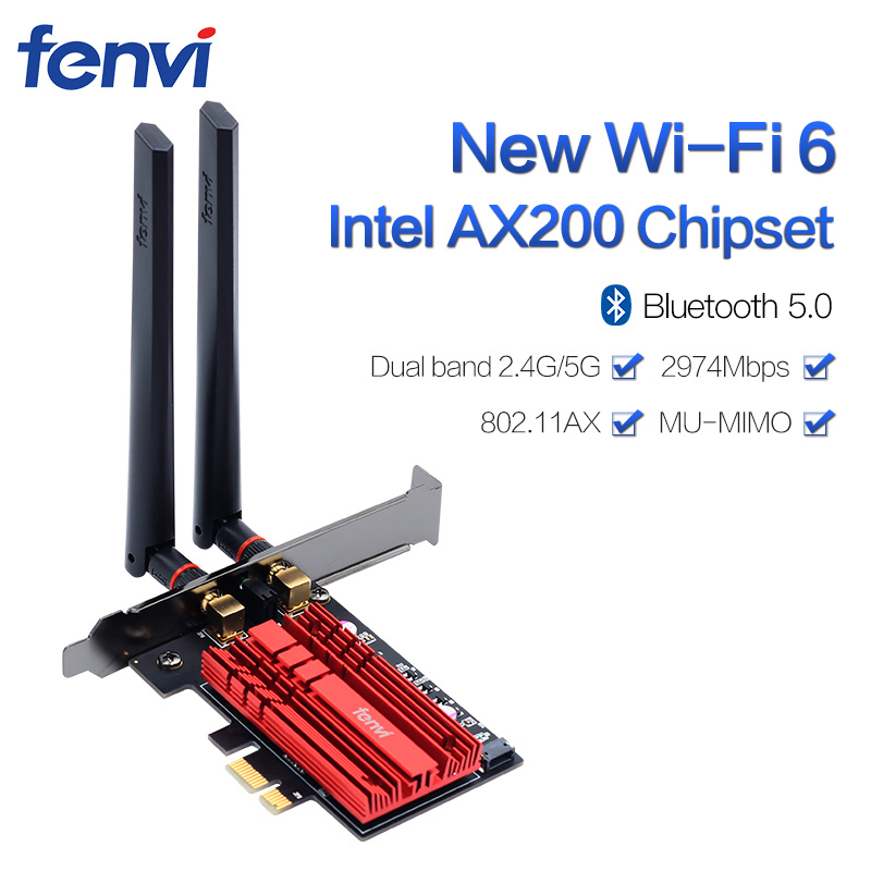 2400Mbps Dual Band Wireless Desktop <font><b>PCIe</b></font> Intel <font><b>AX200</b></font> Card 802.11ax 2.4G/5Ghz Bluetooth 5.0 PCI Express Wireless WiFi Adapter image