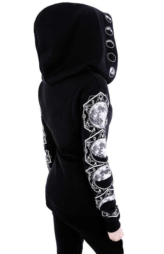 Womens Black Gothic Punk Coat Jacket Hoodie Long Sleeve Retro Cosplay Apparel