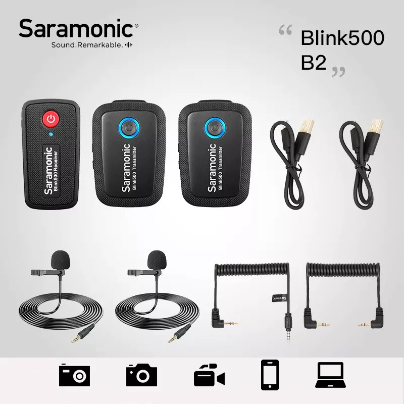 Saramonic Blink500 Wireless Microphone Professional Voice Studio MIC For DSLR Phone Camera Laptop For Youtube Review Vlog image