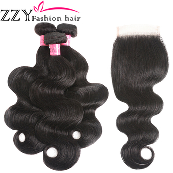 ZZY Fashion Hair Brazilian Body Wave Bundles With Closure non-remy Human Hair Weave Bundles With Closure 1