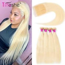 Tinashe cabello 613 mechones con cierre brasileño armadura del pelo 3 mechones con cierre Remy cabello humano Rubio mechones con cierre