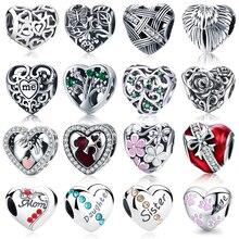 WOSTU 100% autentyczne 925 srebro charms w kształcie serca koraliki Fit marka Charm bransoletka DIY oryginalna biżuteria srebrna