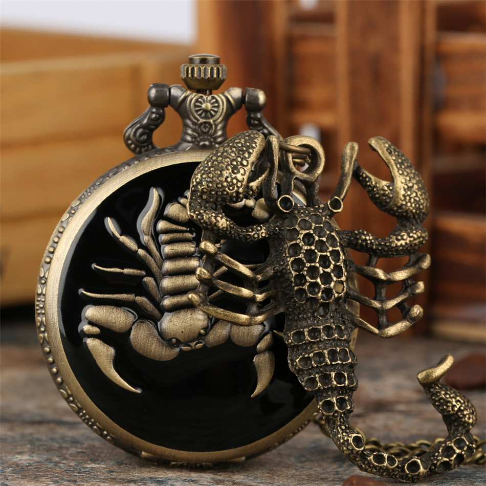 Punk Cool Scorpion Pendant Necklace Watch Bronze Antique Necklace Watch Fob Necklace Chain Jewelry Clock