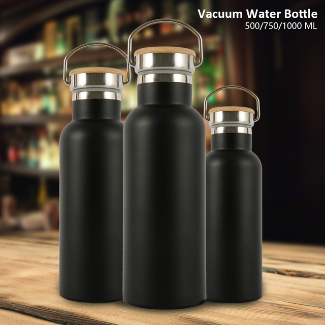 500/750/1000ML Portable Stainless Steel Water Bottle Bamboo Lid Sports Flasks Leak-proof Travel Cycling Hiking Camping Bottles 1