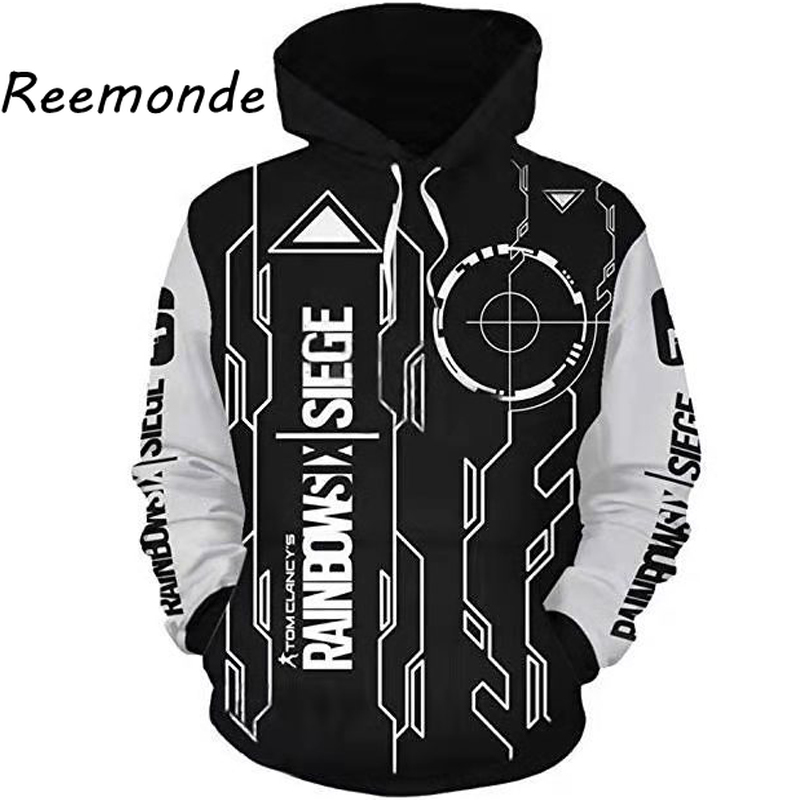 Hoodie Jacket Siege-Costume Zipper-Hat Rainbow Clothing Print Sweatshirt Six Tops Boys